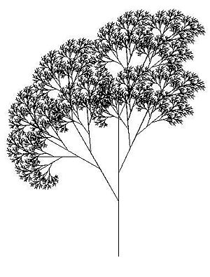 Tree created using the Logo programming language and relying heavily on recursion. Each branch can be seen as a smaller version of a tree.