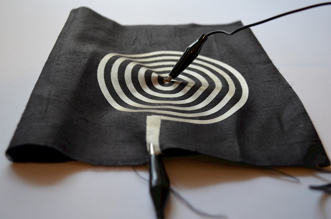 Coil made of conductive fabric ironed on fabric