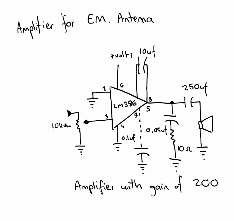 lm386 EMF amplifier circuit shematics