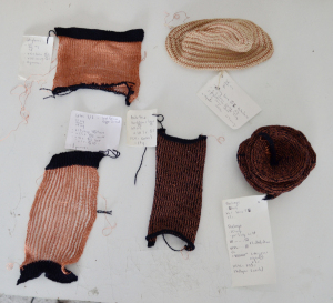 knitting antenna swatch with karl grim copper  # 3
