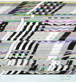 Glitched jacquard loom card
