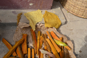 Preparing dye extraction and mordant with local plants for textile dying